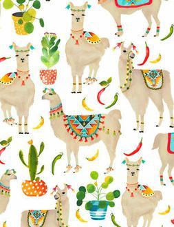 Fabric Llamas Cactus Watercolor on White Timeless Treasures