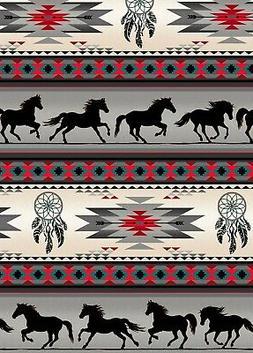 Fabric Native Horses Tucson Stripe Grey Cotton Elizabeth 1/4