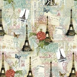 Fabric Paris Eiffel Tower Spring Expo DTextiles Cotton 1/4 y