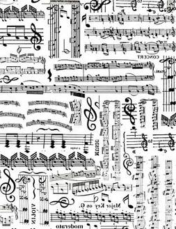Fabric Sheet Music Notes Black on White Timeless Treasures C