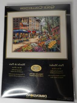 Gold Collection Paris Market 15x11 NIP/2009 Counted Cross St