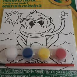 Crayola Goofy Frog Kids Paint Your Own Canvas Brush and 4 Pa