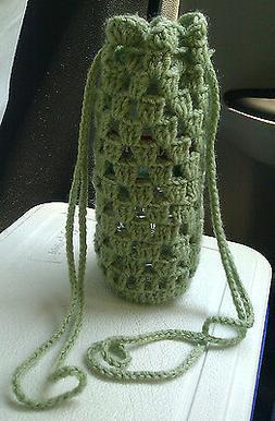 Handmade Crochet Water Bottle Holder - Green