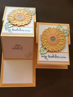 Handmade Stampin Up Sunflower Trifold Birthday Card Kit-4 Ca