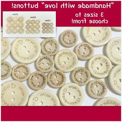 """""""Handmade with love"""" 2 Hole Buttons Sewing Crafts wood tag r"""