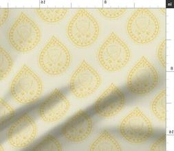 Indian Paisley Yellow Modern Home Decor Fabric Printed by Sp