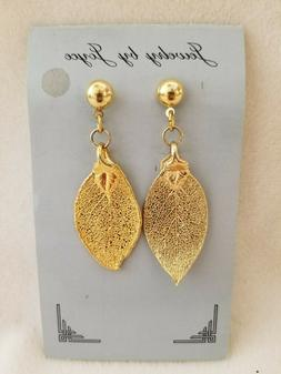 Jewelry by Joyce fashion Gold leaf earrings hand crafted