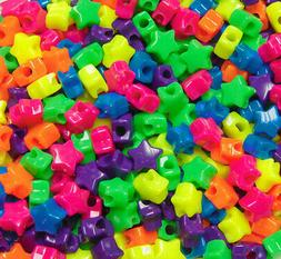 JOLLY STORE Crafts Neon Multi Colors Star Pony Beads 100pc M