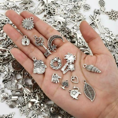 10 mixed charms antiqued silver pendants random