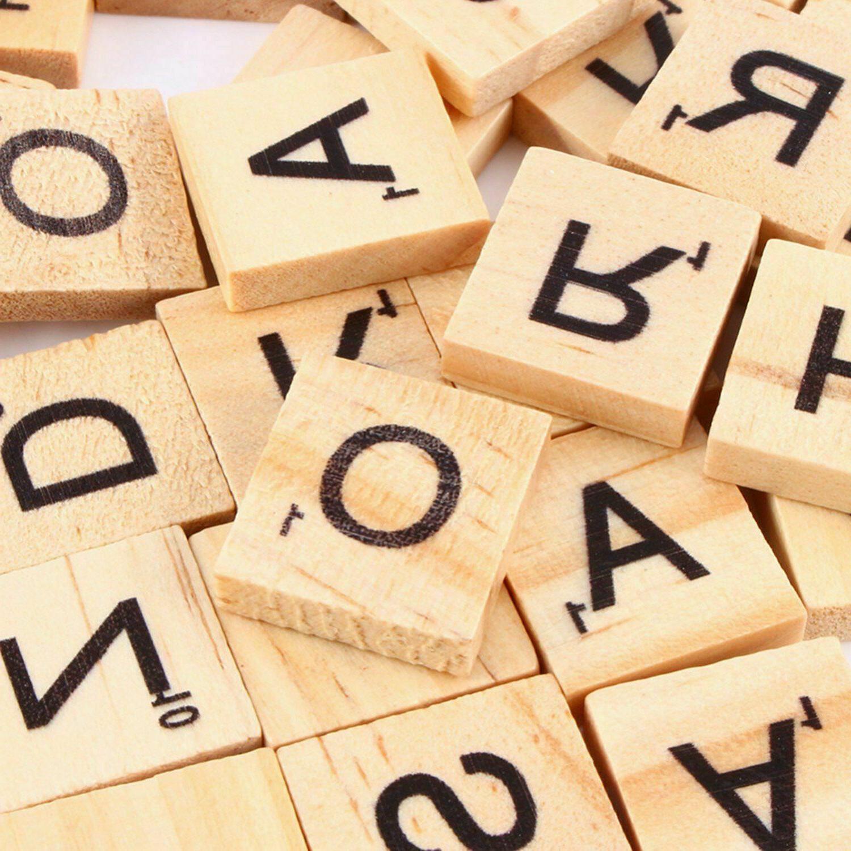 100pcs wooden scrabble tiles black letters numbers