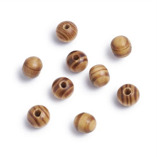 200pcs Natural BurlyWood Beads Bead Craft Wood 8mm /