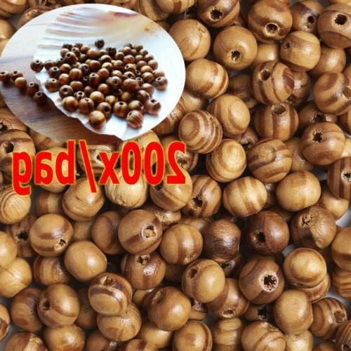 200pcs natural burlywood brown beads wooden round