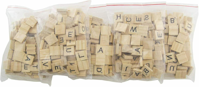 500 Wood Tiles Scrabble 5 Sets Spelling