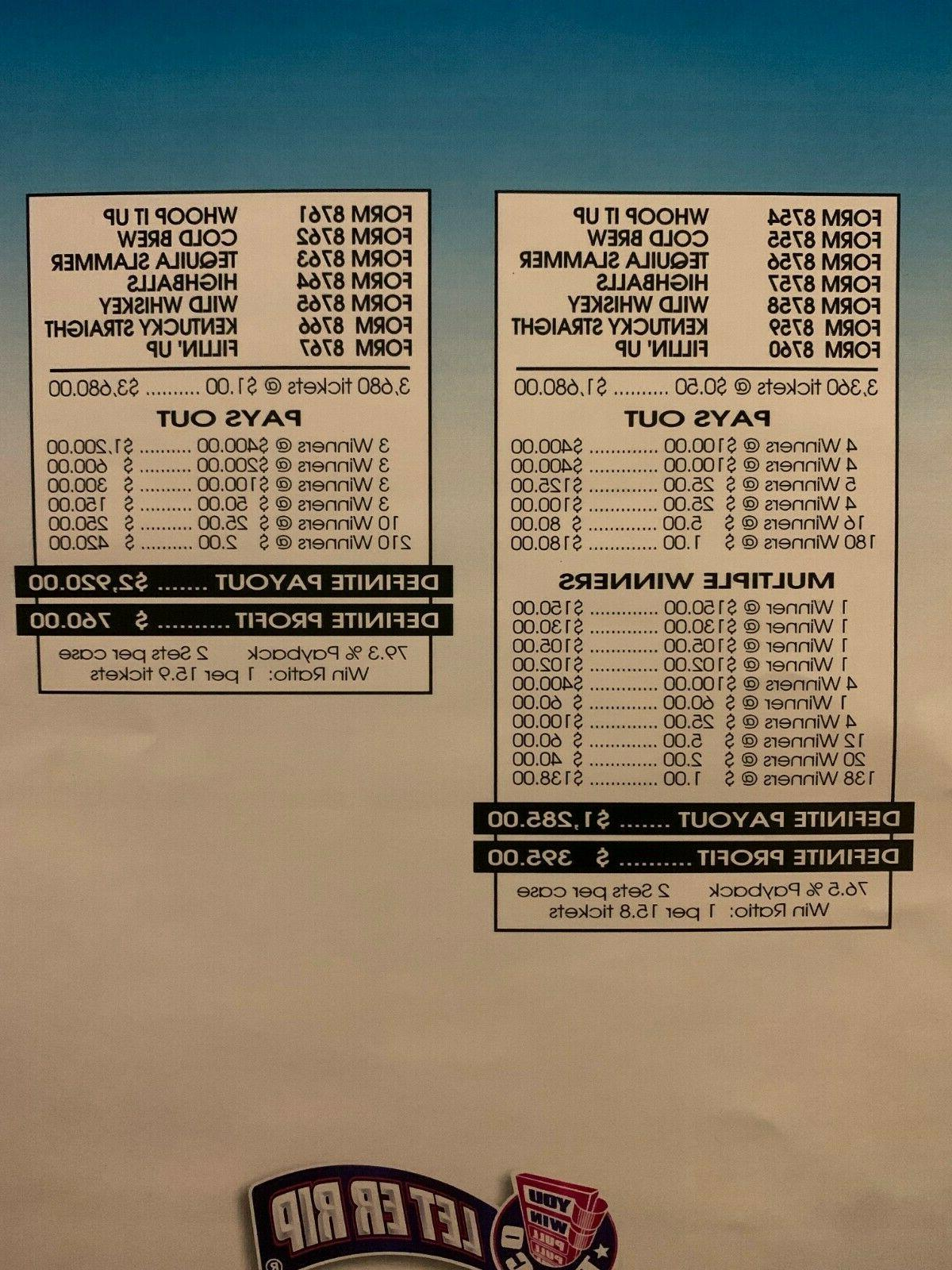 Choose Your 5-Tab Pull-Tab Tickets 400 top/2 Dollar