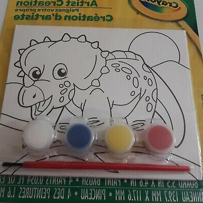 dinosaur kids paint your own canvas brush