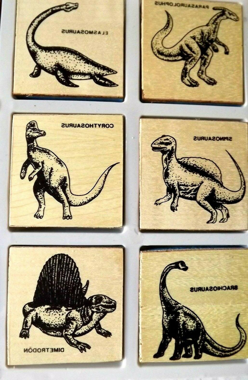 dinosaur wooden stamp set toys kids arts
