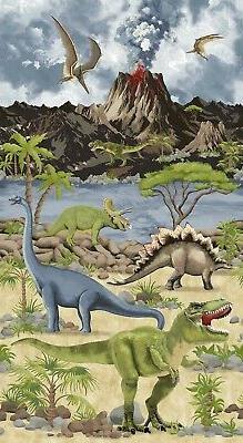 "Fabric Baby Dinosaurs World Volcano on Cotton Panel 24""x42"""