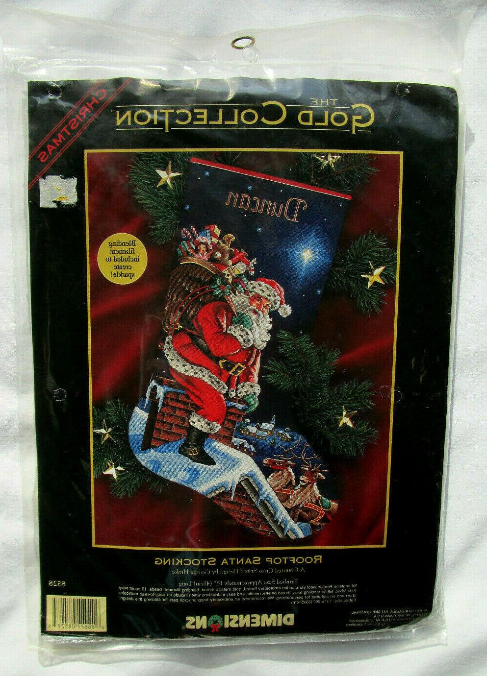gold collection rooftop santa stocking counted cross