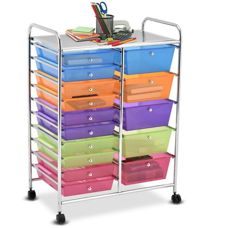 rolling organizer cart 15 drawers craft tools