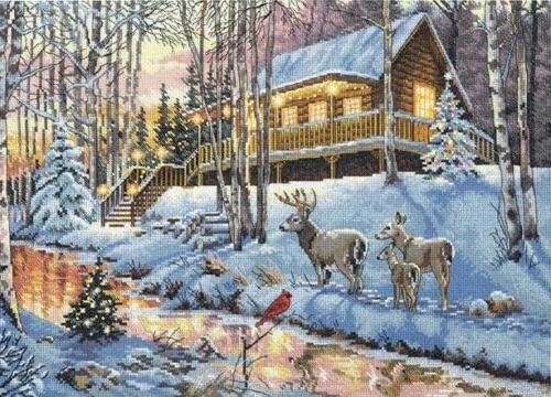 the gold collection winter cabin counted cross