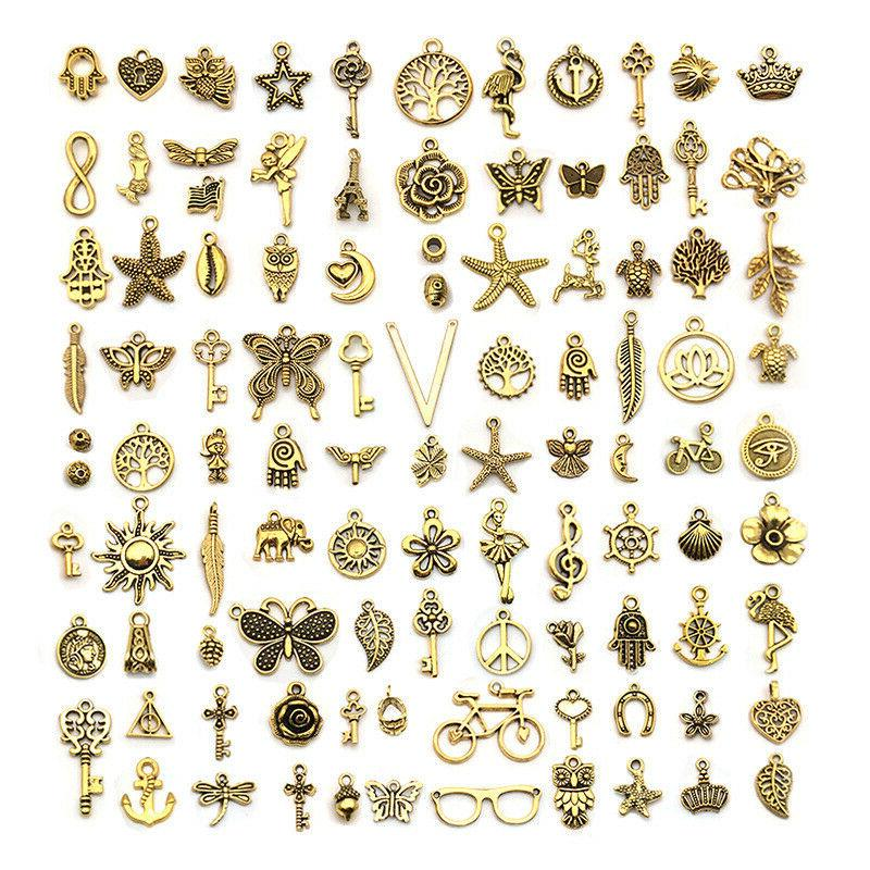 vintage golden color charms for jewelry making