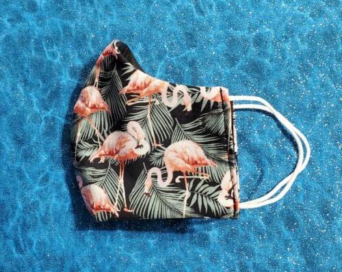 Washable Handmade Fabric Mask pocket PINK FLAMINGOS
