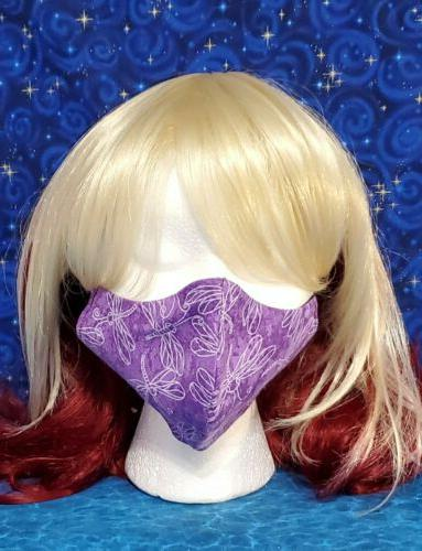 Washable Handmade Fabric Mask filter DRAGONFLIES