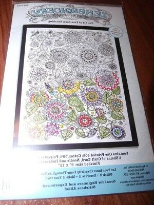 zenbroidery flowers with floss kit 9 x