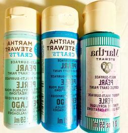 Lot Of 3 Martha Stewart Crafts Multi-Surface Pearl Acrylic C