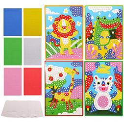 Lovyan Mosaic Stickers Art Kits for Kids 4 Pack DIY Handmade