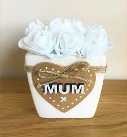 MUM / NAN Mothers Day Gift Hand Crafted Pot with White Rose