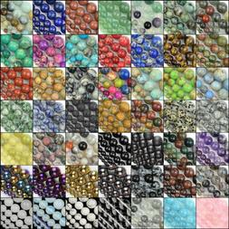 "Natural Gemstone Beads Round Loose Strand 15"" 4mm 6mm 8mm 10"