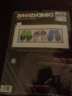 DIMENSIONS NEEDLE CRAFTS COUNTED CROSSS STITCH FLIP FLOP FRE