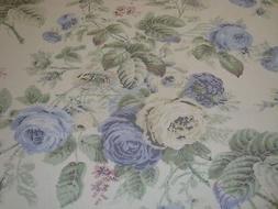 One Yard MARTHA STEWART Shabby Cabbage ROSES Blue DRAPERY FA