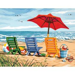Dimensions Paint Works Paint By Number Kit Beach Chair Trio