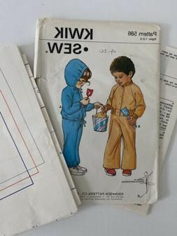 Kwik Sew Pattern 586 Toddler's Sweatsuit Two Styles Ages 1 -