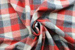Pendleton Red, Black and Gray Plaid wool fabric by the yard
