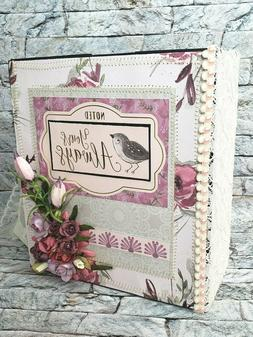 Premade Sewn Scrapbook Album Spring Bird Photo handmade Craf