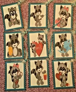 Raccoon Love~OOAK~9  Premium Gift Hang Tags~Scrapbooking~Car