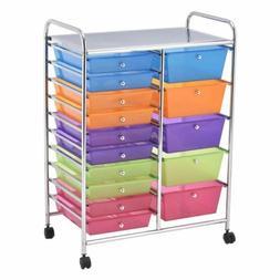 Rainbow 15 Drawer Organizer Cart Chrome Rolling Storage Craf