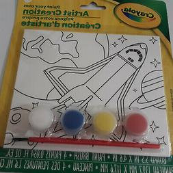 Crayola Rocket Space Kids Paint Your Own Canvas Brush and 4