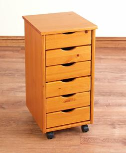 Rolling Office Cart 6 Drawers Crafts Solid Wood Sewing Organ