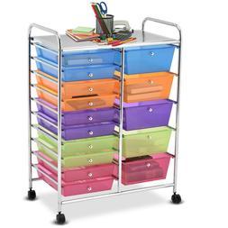 ROLLING ORGANIZER CART 15 Drawers Craft Tools Storage Multip