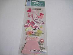 Scrapbooking Crafts Jolee's Stickers Baby Girl Pink Dress Bo