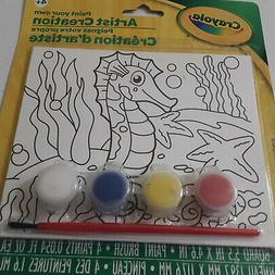 Crayola Sea Horse Kids Paint Your Own Canvas Brush and 4 Pai