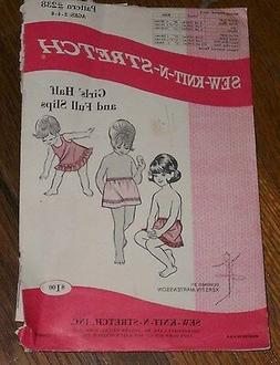 Sew Knit N Stretch 238 Girls Full & Half Slip Pattern for Ag