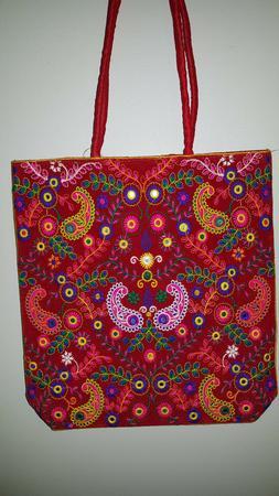 HANDMADE SHOULDER BAG EMBROIDERED INDIAN CRAFTS BAG SHOULDER