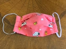 Snoopy Pink White Hearts Handmade Reusable Face Mask - Filte