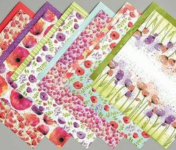 Stampin Up! PEACEFUL PAINTED POPPIES DSP 12 sheets 6 x 6 Des
