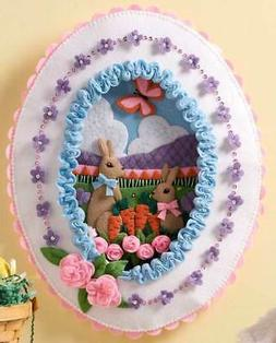 Bucilla Sugared Easter Egg Spring Bunny Roses Felt Wall Hang